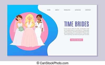 Wedding planning vector website template illustration. Wedding services, dresses and ceremony for bride and groom. Website for newly wed or landing page.