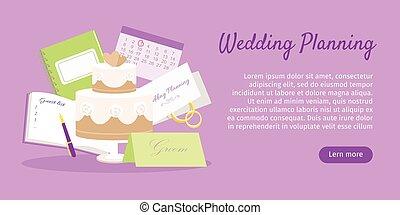 Wedding Planning Web Banner. Preparations. Vector
