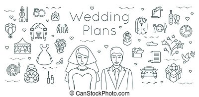 Wedding plans thin line flat background
