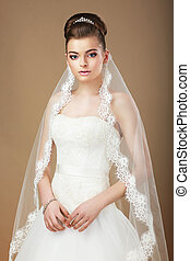 wedding., portré, közül, hölgy, noha, fehér, függöny