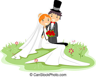 Wedding Pose - Illustration of a Newlywed Couple Sitting on...
