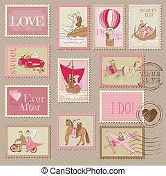 Wedding Postage Stamps - for design and scrapbook - in ...