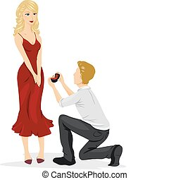 Wedding Proposal - A Man Going Down on His Knees to Propose...