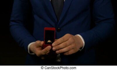 Wedding proposal with engagement ring