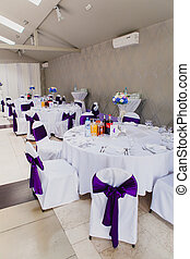 Wedding reception area ready for guests and the party