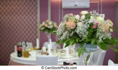Wedding reception decoration indoors shot