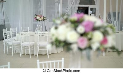 Wedding reception decoration with flowers