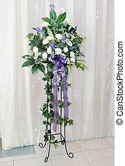 Wedding reception flower arrangement - White and purple ...