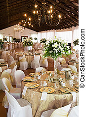 Wedding reception hall with laid tables - Wedding reception...