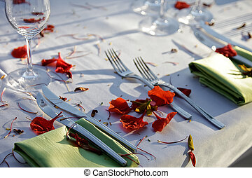 Wedding Reception. - Table decorated for the wedding party....