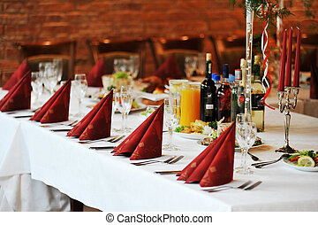 table with food and drink - Wedding reception place ready ...