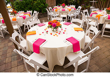 Wedding Reception Tables - Tables are set and ready for a ...