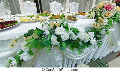 Wedding Reception - Wedding reception table set awaiting...