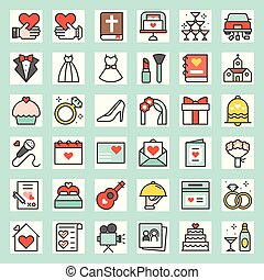 Wedding related filled outline icon size 128 px, drawing on ...