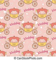 Wedding retro carriage seamless pattern - Pink wedding retro...