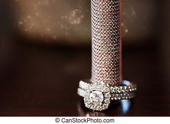 A close-up shot of a beautiful wedding ring