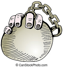 Wedding Ring Ball and Chain - An image of a wedding ring...