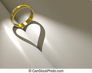 Wedding ring casting a heart