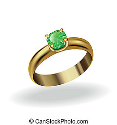 wedding ring - realistic gold ring with a precious stone,...