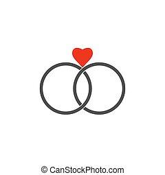 Wedding ring icon. Vector illustration, flat design.