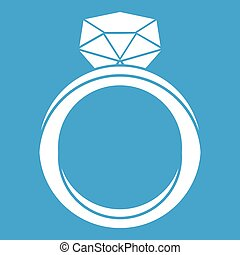 Wedding ring icon white isolated on blue background vector...