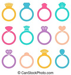 Wedding ring icons - Colorful vector engagement or wedding...