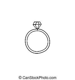 Wedding ring logo element - Vector hand drawn object,...