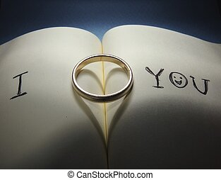 Wedding ring on a letter of love