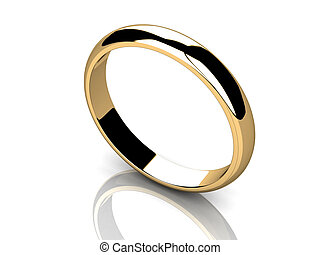 Wedding Ring on a white background.