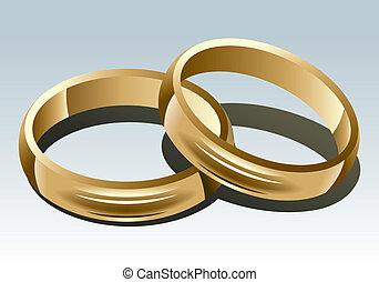 Wedding Ring on White Background. Vector Illustration.