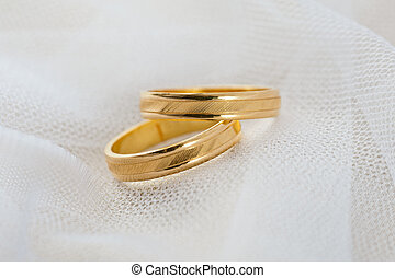 Wedding ring on white veil for Valentines Day or other ...