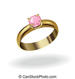 wedding ring - realistic gold ring with a precious stone