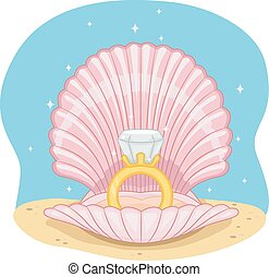 Wedding Ring Shell - Illustration of a Wedding Ring Sitting...