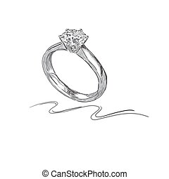 wedding ring, sketch, vector illustration