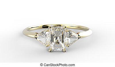 Wedding ring wiith diamond. 3D illustration