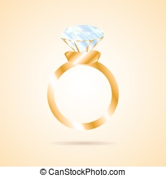 Wedding ring with a big diamond. Wedding Proposal on...
