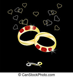 Wedding ring with a ruby