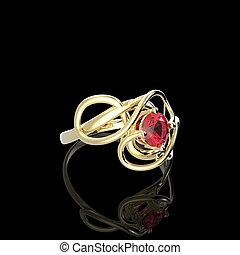 Wedding ring with diamond. 3D illustration