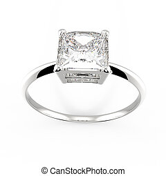 Wedding ring with diamond. 3D rendering