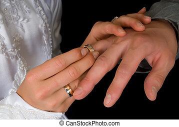 Wedding ring - Young couple putting on wedding ring. Black ...