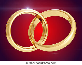 Wedding rings. 3D rendering