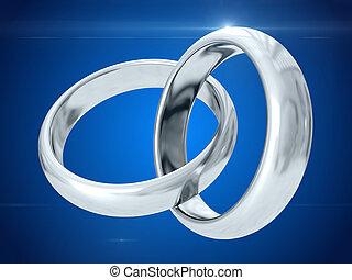Wedding rings. 3D rendering