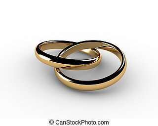 3D wedding rings joined together. I had to simulate physics to lay these rings so they would look natural.