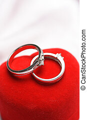 Wedding rings - A close up shots of a pair of wedding rings