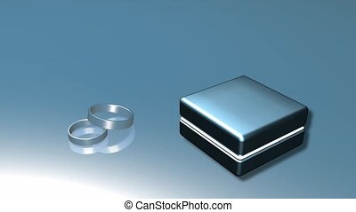 Wedding rings and box