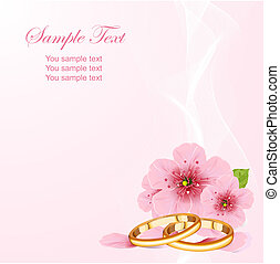 Wedding rings and cherry blossom - Wedding rings and pink...