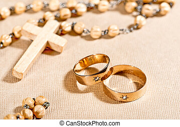 Wedding Rings and Cross