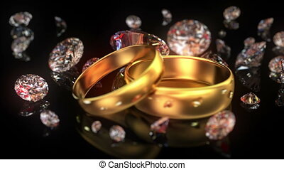 Wedding rings and diamonds, beautiful background with changing depth of field. seamless looped 3d animation, Full HD