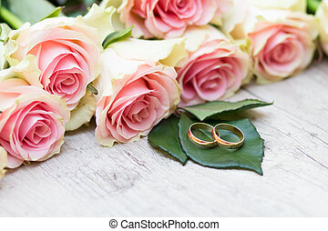 Wedding rings and flowers