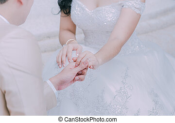 Wedding rings and hands of a bride and groom a symbol of love